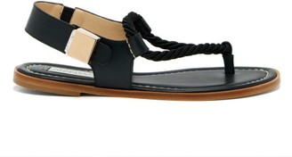 Gabriela Hearst Rope And Leather Thong Sandals - Womens - Black