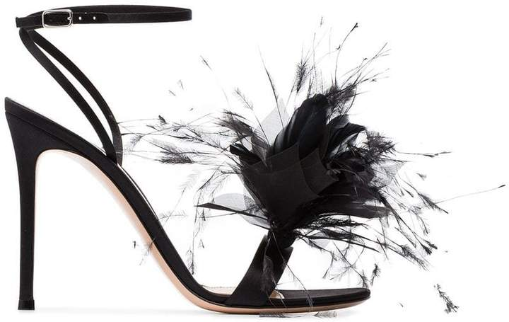 Gianvito Rossi Black feather flower 105 sandals