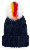 Eugenia Kim Rain Beanie Hat w/ Fur Pom-Pom, Navy