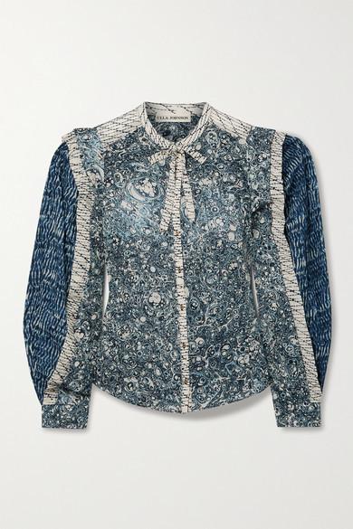 Ulla Johnson Nara Patchwork Printed Cotton-blend Voile Blouse - Indigo