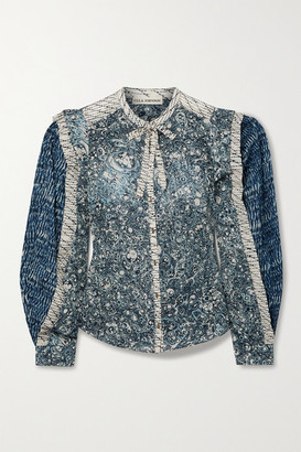 Ulla Johnson Nara Patchwork Printed Cotton-blend Voile Blouse - Indigo