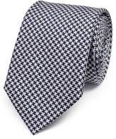 Charles Tyrwhitt Navy Silk Classic Puppytooth Tie