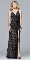 Faviana Surplice Lace Ruched Evening Dress