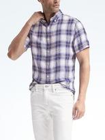 Banana Republic Camden-Fit Blue Plaid Linen Short-Sleeve Shirt