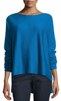Eileen Fisher Merino Boxy Bateau-Neck Sweater, Petite