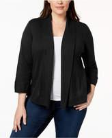 Karen Scott Plus Size Pointelle-Knit Cardigan, Created for Macy's