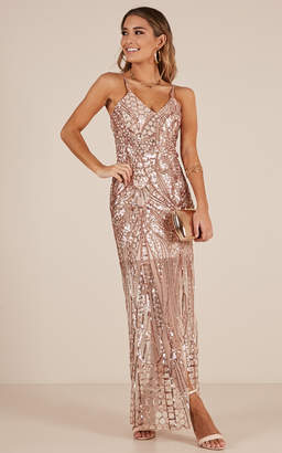 Showpo Be My Lover dress in rose gold sequin - 6 (XS) Wedding Guest