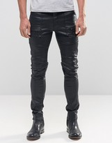 Asos Super Skinny Jeans In Coated With Biker Styling And Zip Detail