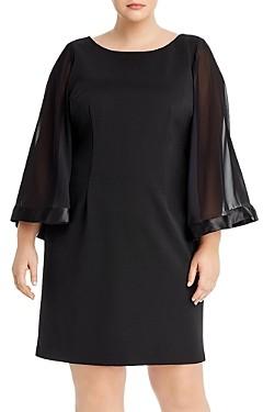 Adrianna Papell Plus Ribbed Chiffon-Sleeve Dress