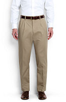 Classic Men's Pleat Front Comfort Waist No Iron Chino Pants-Khaki