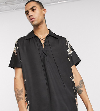 Heart N Dagger shirt with lace up detail with side print