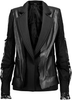 Maison Margiela Twill and mesh-trimmed leather jacket