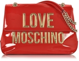 Love Moschino Red Patent Eco Leather Shoulder Bag w/Signature Logo