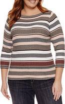Liz Claiborne Elbow Sleeve Boat Neck Stripe Pullover Sweater-Plus