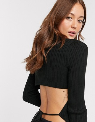 ASOS DESIGN high neck ribbed open tie back sweater