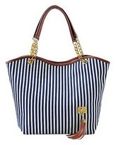 D Major Fashion Stripe Top Handle Large Tassel Outdoor Charms Shoulder Handbags Tote Bags