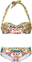 Dolce & Gabbana printed halterneck bikini