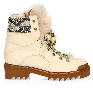 Aquazzura Women's Sierra Lamb Fur-Trim Snakeskin & Leather Hiking Boots