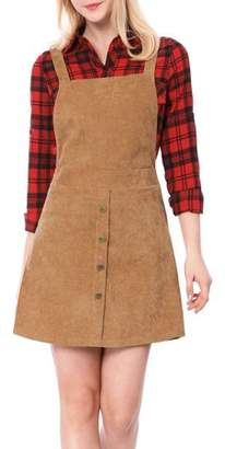Unique Bargains Women's Corduroy Button Decor A Line Suspender Overall Skirt Dress