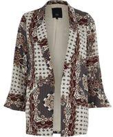 River Island Womens Grey scarf print frill cuff blazer