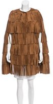 Burberry Suede Fringe-Trimmed Cape w/ Tags
