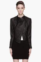 Helmut Lang HELMUT Black Washed Leather cropped Jacket