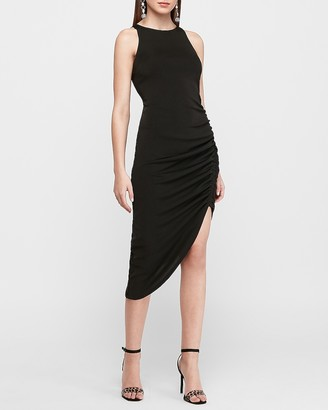 Express Sleeveless Ruched Asymmetrical Midi Dress