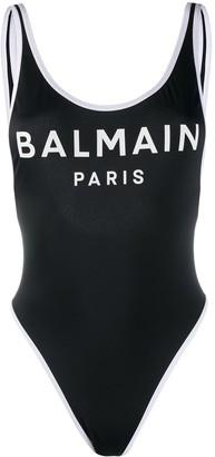 Balmain Logo Print Swimsuit