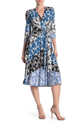 Gabby Skye Elbow Sleeve Printed Crepe Dress