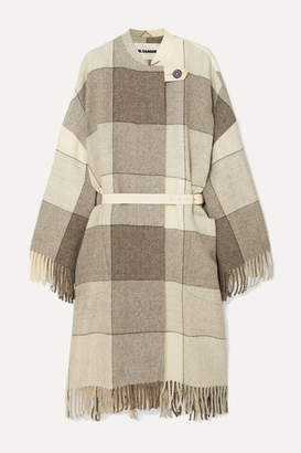 Jil Sander Belted Fringed Checked Wool-twill Coat - Gray