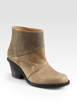 Ld Tuttle Leather and Canvas Ankle Boots