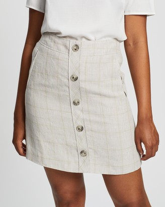 Marcs - Women's Neutrals Skirts - Checked Linen Skirt - Size One Size, 8 at The Iconic