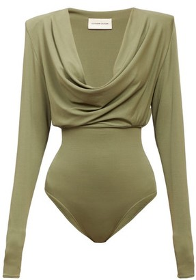 Alexandre Vauthier Cowl-neck Padded-shoulder Bodysuit - Dark Green