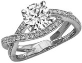 Houston Diamond District 2.29 Carat t.w. 14K White Gold Round Eternity Love Criss Cross Twisting Split Shank Diamond Engagement Ring I1