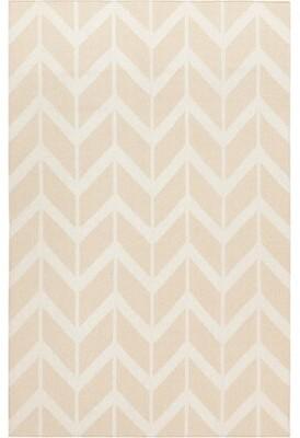 "Surya Fallon Handwoven Flatweave Wool Sand Area Rug Rug Size: Rectangle 3'6"" x 5'6"""