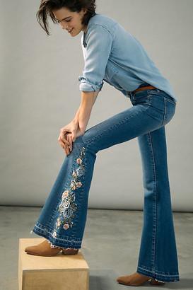 Driftwood Farrah High-Rise Embroidered Bootcut Jeans By in Blue Size 24