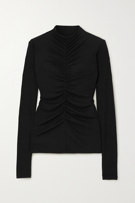 Veronica Beard Theresa Ruched Ribbed Stretch-modal Turtleneck Top - Black