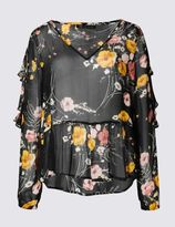 Marks and Spencer Printed V-Neck Long Sleeve Blouse