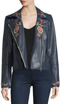 Bagatelle Embroidered Faux-Leather Biker Jacket