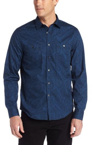 Geoffrey Beene Men's Large Paisley Print Slim Fit Long Sleeve Shirt