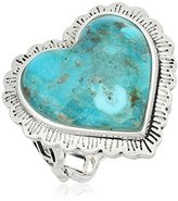 Barse Sterling Silver and Genuine Turquoise Heart Ring, Size 7