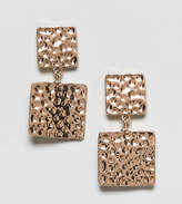 Reclaimed Vintage Inspired Hammered Metal Square Earrings