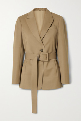 Brunello Cucinelli Belted Wool-blend Blazer - Camel