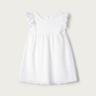 The White Company Broderie Jersey Dress, White, 3-6mths
