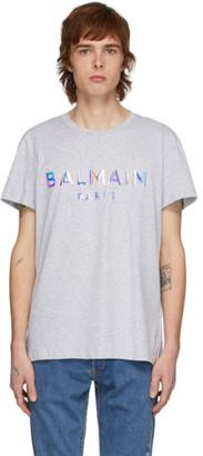 Balmain Grey Hologramme Logo T-Shirt