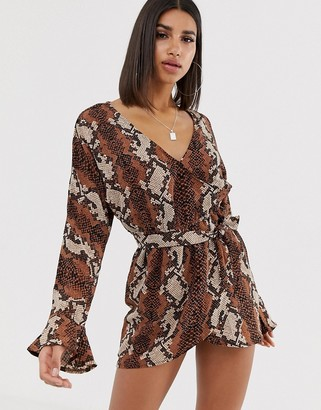 In The Style Snake Print Frill Wrap Dress