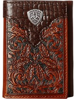 Ariat Tooled Tri-Fold Wallet with Gator Tab and Logo Concho