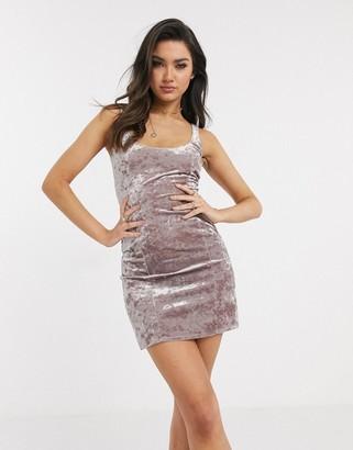 Flounce London sqaure neck mini dress in summer velvet pink