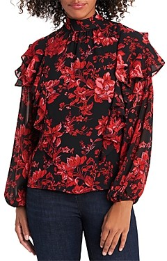 Vince Camuto Victorian Blooms Tiered Ruffle Blouse
