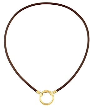 Tous 18K Yellow Gold-Plated Sterling Silver Leather Hold Choker Necklace, 15.8